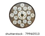 Antique Clock With World Time On It - stock photo