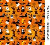 cartoon halloween seamless... | Shutterstock .eps vector #79961752