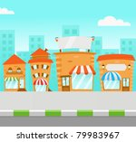 strip mall  vector  | Shutterstock .eps vector #79983967