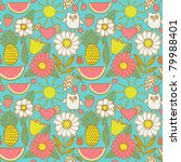 cute seamless pattern with... | Shutterstock .eps vector #79988401