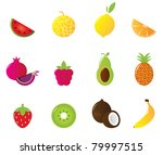 12 fruit and berries cute icons ... | Shutterstock .eps vector #79997515