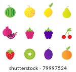 12 fruit and berries cute icons ... | Shutterstock .eps vector #79997524