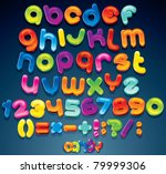 Multicolored Shiny Vector Font...