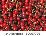 Red cherries at a farmer's market in France - stock photo