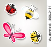 Stock vector vector paper cut bee and bugs icons 80010454