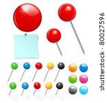 vector push pin collection | Shutterstock .eps vector #80027596
