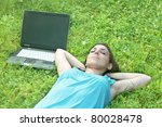 Student relaxing outdoor. - stock photo