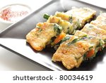 Korean cuisine, Leek and pork Pan cake - stock photo