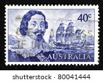 Small photo of AUSTRALIA - CIRCA 1966: Stamp printed in Australia showing the portrait of Dutch merchant Abel Janszoon Tasman and his ship Heemskerck, circa 1966. Abel Tasman is the first European to reach Tasmania.
