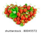 Heart from strawberry on white background - stock photo