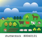 country landscape with trees... | Shutterstock .eps vector #80060131