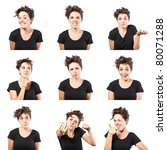 Young Woman Face Expressions...