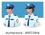 people icons : policeman male and female - stock vector
