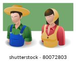 people icons : farmer male and female - stock vector