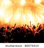silhouettes of concert crowd in ... | Shutterstock . vector #80074414