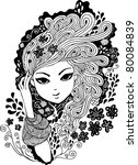 beautiful abstract floral girl  ... | Shutterstock .eps vector #80084839