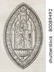 Small photo of Old reproduction of Bec-Hellouuin abbey seal. Created by Ratel, published on Magasin Pittoresque, Paris, 1850