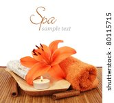 spa setting with candle  flower ... | Shutterstock . vector #80115715