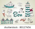 summer holidays doodles  vector ... | Shutterstock .eps vector #80117656