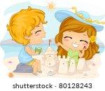 Illustration of Kids Making Sand Castles - stock vector