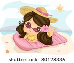 Illustration of a Girl Sunbathing - stock vector