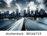 futuristic cityscape with blue... | Shutterstock . vector #80166715