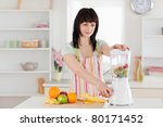 lovely brunette woman using a... | Shutterstock . vector #80171452