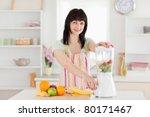 attractive brunette woman using ... | Shutterstock . vector #80171467