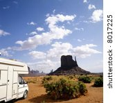 White mobil home in Monument Valley, U.S.A. - stock photo