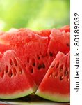 slices of red watermelon - stock photo