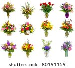 Collage Various Colorful Flower Arrangements - Fine Art prints