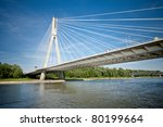 Modern bridge in Warsaw over Vistula river, Poland - stock photo