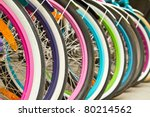 wheel detail of a group of bikes | Shutterstock . vector #80214562