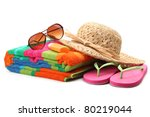 Beach Items With Straw Hat...