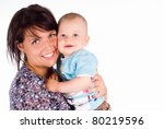 happy mom with her baby on white | Shutterstock . vector #80219596