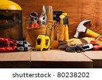 set of working tools on wooden... | Shutterstock . vector #80238202