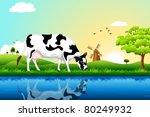 illustration of cow grazing in... | Shutterstock .eps vector #80249932