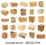 Carton boxes on collage - stock photo