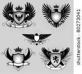 set of heraldry winged shield | Shutterstock .eps vector #80273041
