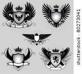set of heraldry winged shield | Shutterstock .eps vector #80273041