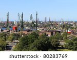 Top view on the shipyards and the port of Gdansk, Poland. - stock photo