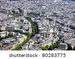 Aerial view of the Arc de Triomphe in Paris from the Eiffel Tower. - stock photo