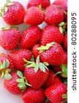 Fresh strawberry background - stock photo