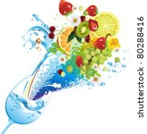 water and fruits. all elements...   Shutterstock .eps vector #80288416