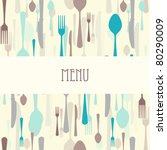 dining menu with plate | Shutterstock .eps vector #80290009