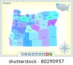 oregon state map with community ... | Shutterstock .eps vector #80290957