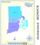 rhode island state map with...   Shutterstock .eps vector #80290978
