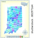 indiana state map with...   Shutterstock .eps vector #80297164