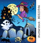 halloween scenery with cemetery ... | Shutterstock .eps vector #80323546