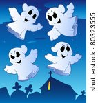 four ghosts near cemetery  ... | Shutterstock .eps vector #80323555